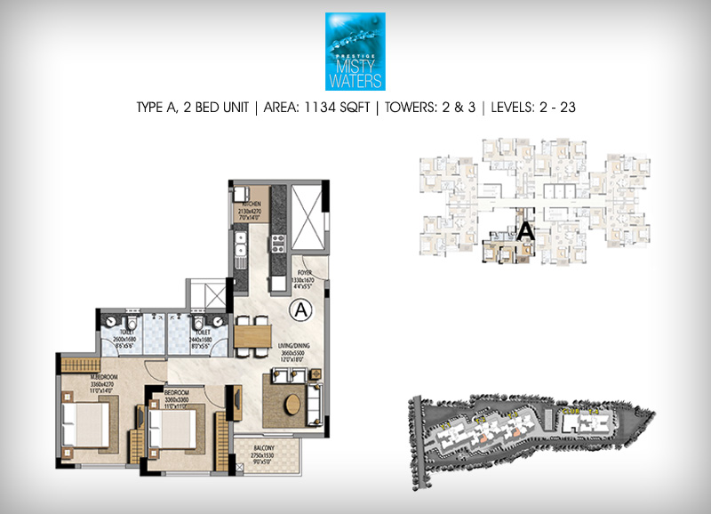 Prestige Misty Waters 2 BHK Floor Plan