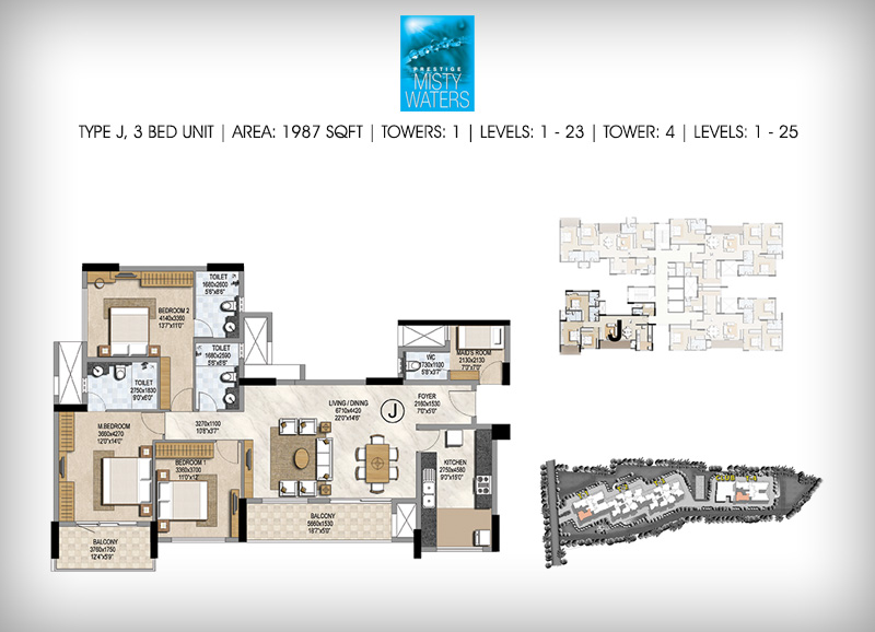 Prestige Misty Waters 3 BHK Floor Plan