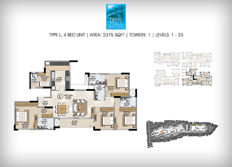 Prestige Misty Waters 4 BHK Floor Plan