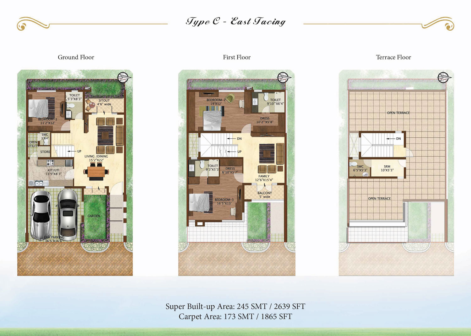 Prestige Woodside 3 BHK Floor Plan Type C