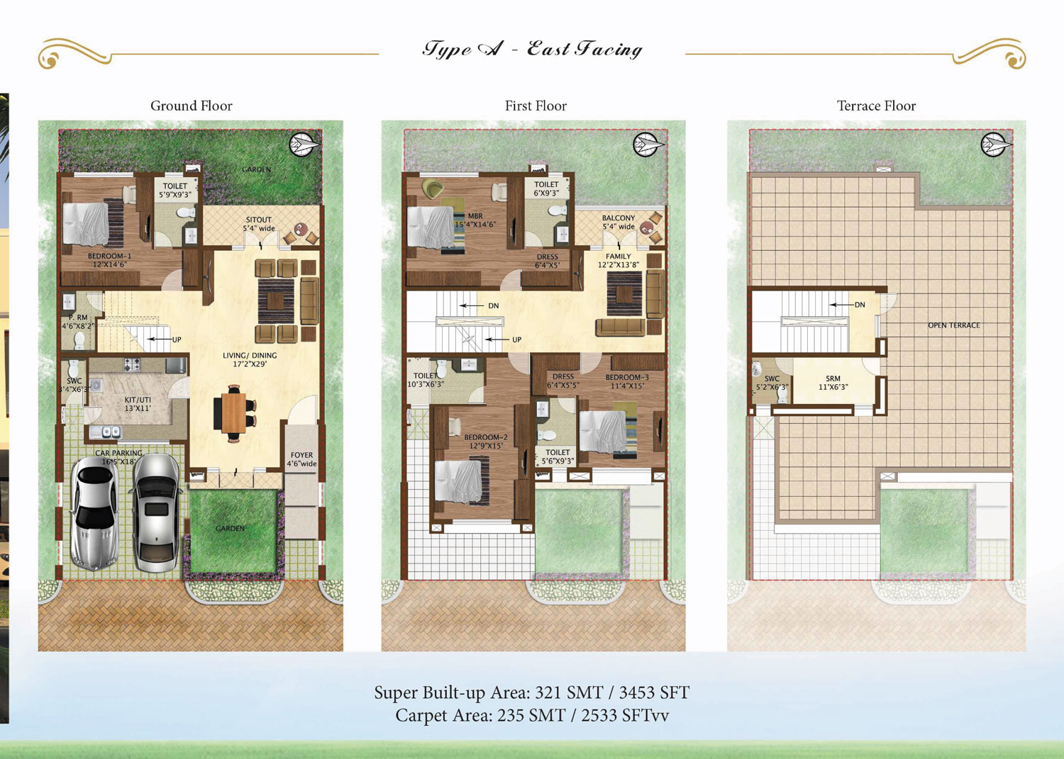Prestige Woodside 4 BHK Floor Plan Type A